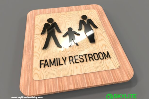 acrylic-family-restroom-sign-on-wood